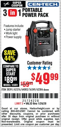 Harbor Freight Coupon 3-IN-1 PORTABLE POWER PACK WITH JUMP STARTER Lot No. 38391/60657/62306/62376/64083 Expired: 1/26/20 - $49.99
