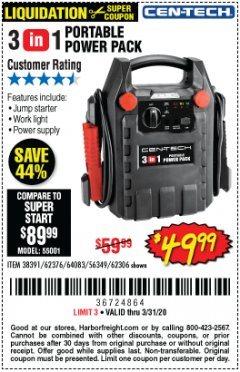 Harbor Freight Coupon 3-IN-1 PORTABLE POWER PACK WITH JUMP STARTER Lot No. 38391/60657/62306/62376/64083 Valid Thru: 3/31/20 - $49.99