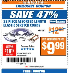 Harbor Freight ITC Coupon 23 PIECE ASSORTED LENGTH ELASTIC STRETCH CORDS Lot No. 60760/46736 Expired: 12/18/18 - $9.99