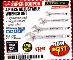 Harbor Freight Coupon 4 PIECE ADJUSTABLE WRENCH SET Lot No. 903/69427/60690 EXPIRES: 6/30/20 - $9.99