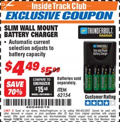 Harbor Freight ITC Coupon SLIM WALL MOUNT BATTERY CHARGER Lot No. 62154/68025 Expired: 11/30/18 - $4.49