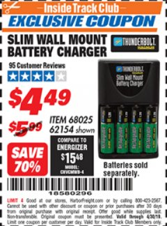 Harbor Freight ITC Coupon SLIM WALL MOUNT BATTERY CHARGER Lot No. 62154/68025 Expired: 4/30/19 - $4.49