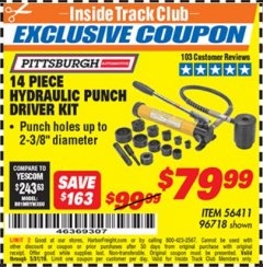 Harbor Freight ITC Coupon 14 PIECE HYDRAULIC PUNCH DRIVER KIT Lot No. 96718/56411 Expired: 5/31/19 - $79.99