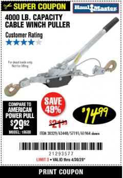 Harbor Freight Coupon 4000 LB. CAPACITY CABLE WINCH PULLER Lot No. 18600 EXPIRES: 6/30/20 - $14.99
