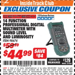Harbor Freight ITC Coupon 14 FUNCTION PROFESSIONAL DIGITAL MULTIMETER WITH SOUND LEVEL AND LUMINOSITY Lot No. 98674 Expired: 2/28/19 - $44.99