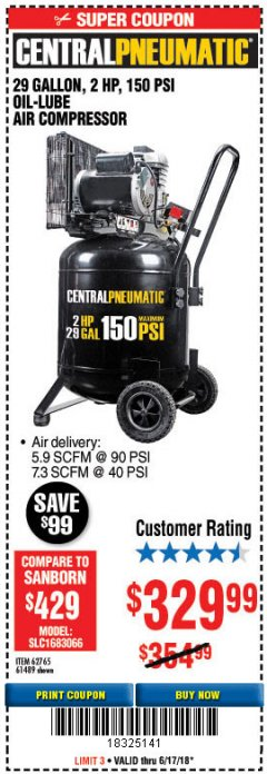 Harbor Freight Coupon 2 HP, 29 GALLON 150 PSI CAST IRON VERTICAL AIR COMPRESSOR Lot No. 62765/68127/69865/61489 Expired: 6/17/18 - $329.99