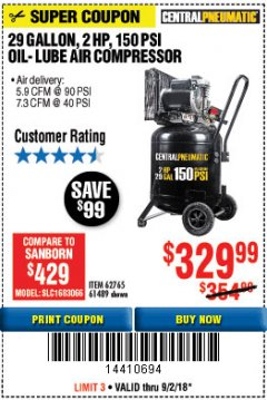 Harbor Freight Coupon 2 HP, 29 GALLON 150 PSI CAST IRON VERTICAL AIR COMPRESSOR Lot No. 62765/68127/69865/61489 Expired: 9/2/18 - $329.99