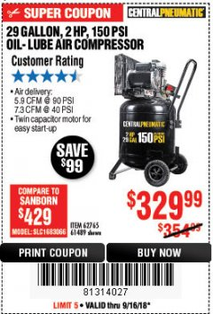 Harbor Freight Coupon 2 HP, 29 GALLON 150 PSI CAST IRON VERTICAL AIR COMPRESSOR Lot No. 62765/68127/69865/61489 Expired: 9/16/18 - $329.99