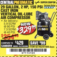 Harbor Freight Coupon 2 HP, 29 GALLON 150 PSI CAST IRON VERTICAL AIR COMPRESSOR Lot No. 62765/68127/69865/61489 Expired: 2/23/19 - $329.99