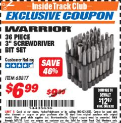 "Harbor Freight ITC Coupon 36 PIECE 3"" SCREWDRIVER BIT SET Lot No. 68817 Expired: 5/31/18 - $6.99"
