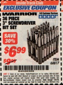 "Harbor Freight ITC Coupon 36 PIECE 3"" SCREWDRIVER BIT SET Lot No. 68817 Expired: 7/31/19 - $6.99"