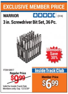 "Harbor Freight ITC Coupon 36 PIECE 3"" SCREWDRIVER BIT SET Lot No. 68817 Valid Thru: 12/3/20 - $6.99"