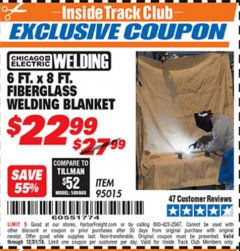 Harbor Freight ITC Coupon 6 FT. x 8 FT. FIBERGLASS WELDING BLANKET Lot No. 95015 Expired: 12/31/18 - $22.99