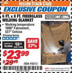 Harbor Freight ITC Coupon 6 FT. x 8 FT. FIBERGLASS WELDING BLANKET Lot No. 95015 Expired: 12/31/19 - $23.99