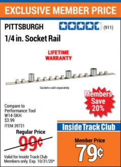 Harbor Freight ITC Coupon SOCKET RAILS Lot No. 39721/39722/39723 Valid Thru: 10/31/20 - $0.79