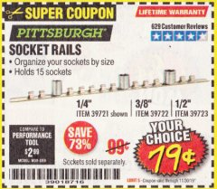Harbor Freight Coupon SOCKET RAILS Lot No. 39721/39722/39723 Expired: 11/30/19 - $0.79