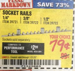 Harbor Freight Coupon SOCKET RAILS Lot No. 39721/39722/39723 Expired: 1/31/20 - $0.79