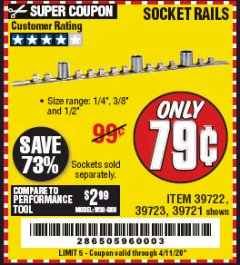 Harbor Freight Coupon SOCKET RAILS Lot No. 39721/39722/39723 Valid Thru: 4/11/20 - $0.79