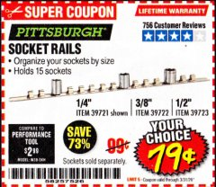 Harbor Freight Coupon SOCKET RAILS Lot No. 39721/39722/39723 Expired: 3/31/20 - $0.79