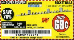 Harbor Freight Coupon SOCKET RAILS Lot No. 39721/39722/39723 Valid Thru: 5/9/20 - $0.69