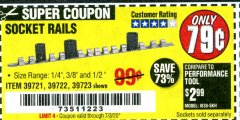 Harbor Freight Coupon SOCKET RAILS Lot No. 39721/39722/39723 Expired: 7/3/20 - $0.79