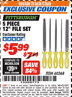 "Harbor Freight ITC Coupon 5 PIECE 12"" FILE SET Lot No. 7520/60368 Expired: 7/31/18 - $5.99"