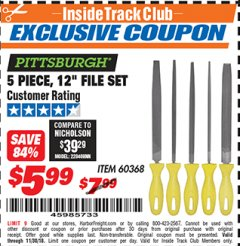 "Harbor Freight ITC Coupon 5 PIECE 12"" FILE SET Lot No. 7520/60368 Expired: 11/30/18 - $5.99"