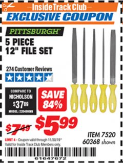 "Harbor Freight ITC Coupon 5 PIECE 12"" FILE SET Lot No. 7520/60368 Expired: 11/30/19 - $5.99"