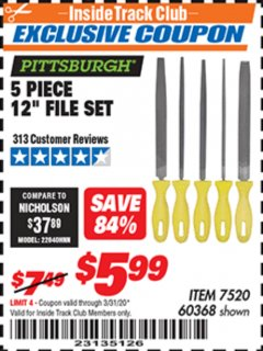 "Harbor Freight ITC Coupon 5 PIECE 12"" FILE SET Lot No. 7520/60368 Expired: 3/31/20 - $5.99"