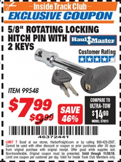 "Harbor Freight ITC Coupon 5/8"" ROTATING LOCKING HITCH PIN WITH 2 KEYS Lot No. 99548 Expired: 11/30/18 - $7.99"