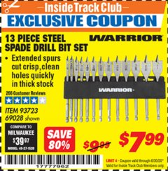 Harbor Freight ITC Coupon 13 PIECE STEEL SPADE DRILL BIT SET Lot No. 69028/93723 Dates Valid: 12/31/69 - 6/30/20 - $7.99