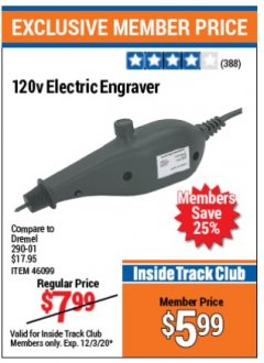 Harbor Freight ITC Coupon 120 VOLT ELECTRIC ENGRAVER Lot No. 46099/63174 Valid: 11/1/20 - 12/3/20 - $5.99