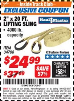 "Harbor Freight ITC Coupon 2"" x 20 FT. WEB LIFTING SLING Lot No. 34708 Expired: 12/31/18 - $24.99"