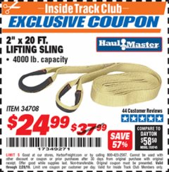 "Harbor Freight ITC Coupon 2"" x 20 FT. WEB LIFTING SLING Lot No. 34708 Expired: 2/28/19 - $24.99"