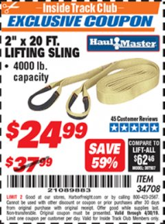 "Harbor Freight ITC Coupon 2"" x 20 FT. WEB LIFTING SLING Lot No. 34708 Expired: 4/30/19 - $24.99"