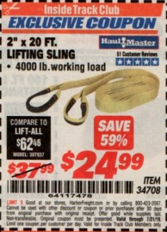"Harbor Freight ITC Coupon 2"" x 20 FT. WEB LIFTING SLING Lot No. 34708 Expired: 7/31/19 - $24.99"