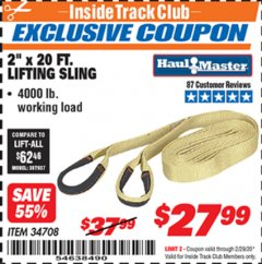 "Harbor Freight ITC Coupon 2"" x 20 FT. WEB LIFTING SLING Lot No. 34708 Valid: 2/1/20 - 2/29/20 - $27.99"