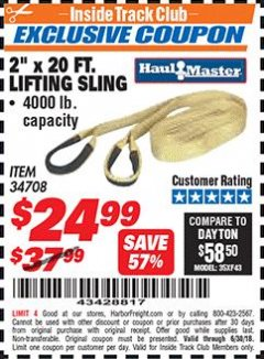 "Harbor Freight ITC Coupon 2"" x 20 FT. WEB LIFTING SLING Lot No. 34708 Expired: 6/30/18 - $24.99"