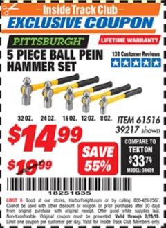 Harbor Freight ITC Coupon 5 PIECE BALL PEIN HAMMER SET Lot No. 39217 Expired: 2/28/19 - $14.99