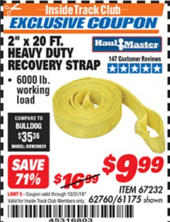 "Harbor Freight ITC Coupon 2"" X 20 FT. HEAVY DUTY RECOVERY STRAP Lot No. 67232/61175/62760 Expired: 10/31/19 - $9.99"