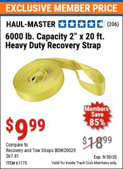 "Harbor Freight ITC Coupon 2"" X 20 FT. HEAVY DUTY RECOVERY STRAP Lot No. 67232/61175/62760 Expired: 9/30/20 - $9.99"