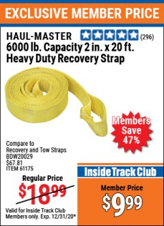 "Harbor Freight ITC Coupon 2"" X 20 FT. HEAVY DUTY RECOVERY STRAP Lot No. 67232/61175/62760 Expired: 12/31/20 - $9.99"