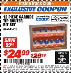 Harbor Freight ITC Coupon 12 PIECE CARBIDE TIP ROUTER BITS Lot No. 46832 Expired: 7/31/18 - $24.99