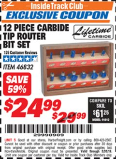 Harbor Freight ITC Coupon 12 PIECE CARBIDE TIP ROUTER BITS Lot No. 46832 Expired: 3/1/19 - $24.99