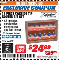 Harbor Freight ITC Coupon 12 PIECE CARBIDE TIP ROUTER BITS Lot No. 46832 Expired: 10/31/19 - $24.99