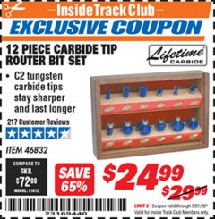 Harbor Freight ITC Coupon 12 PIECE CARBIDE TIP ROUTER BITS Lot No. 46832 Expired: 3/31/20 - $24.99