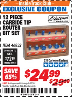 Harbor Freight ITC Coupon 12 PIECE CARBIDE TIP ROUTER BITS Lot No. 46832 Dates Valid: 12/31/69 - 6/30/20 - $24.99
