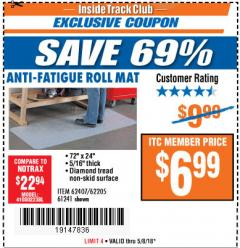 Harbor Freight ITC Coupon ANTI-FATIGUE ROLL MAT Lot No. 61241/62205/62407 Expired: 5/8/18 - $6.99