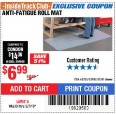 Harbor Freight ITC Coupon ANTI-FATIGUE ROLL MAT Lot No. 61241/62205/62407 Expired: 5/7/19 - $6.99