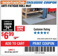 Harbor Freight ITC Coupon ANTI-FATIGUE ROLL MAT Lot No. 61241/62205/62407 Expired: 6/5/19 - $6.99